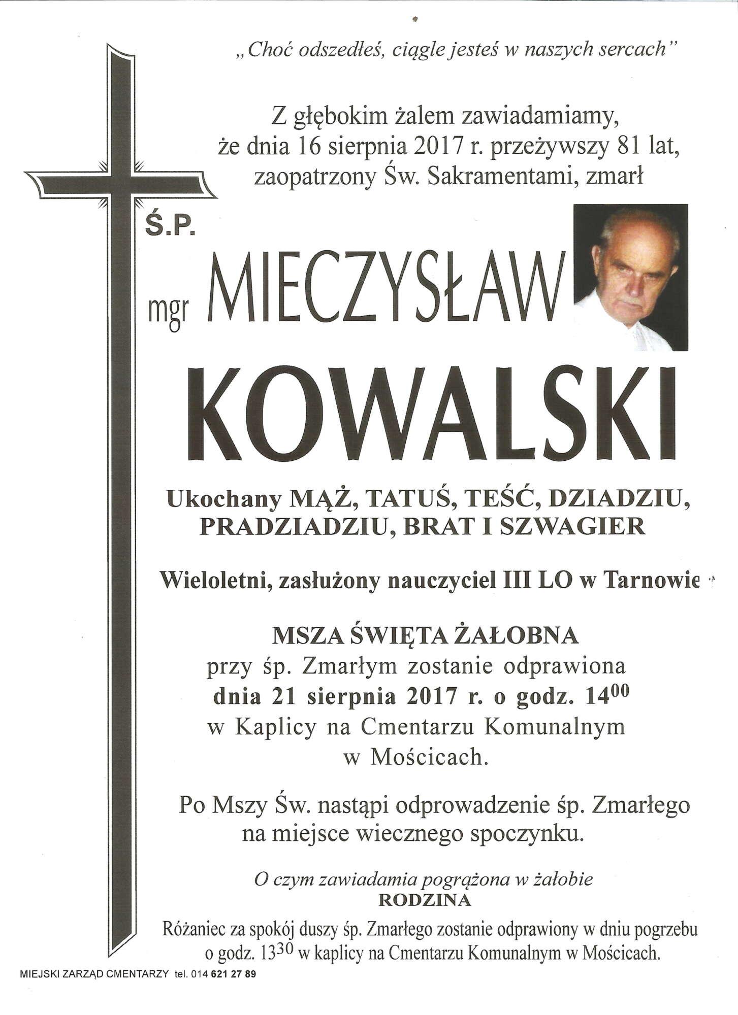 Umarł emerytowany profesor III LO Mieczysław Kowalski